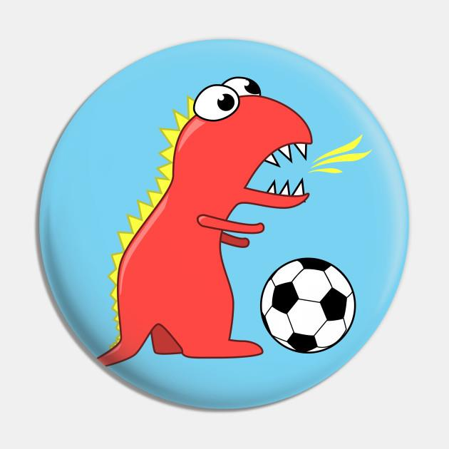 Cartoon dinosaur playing soccer pin