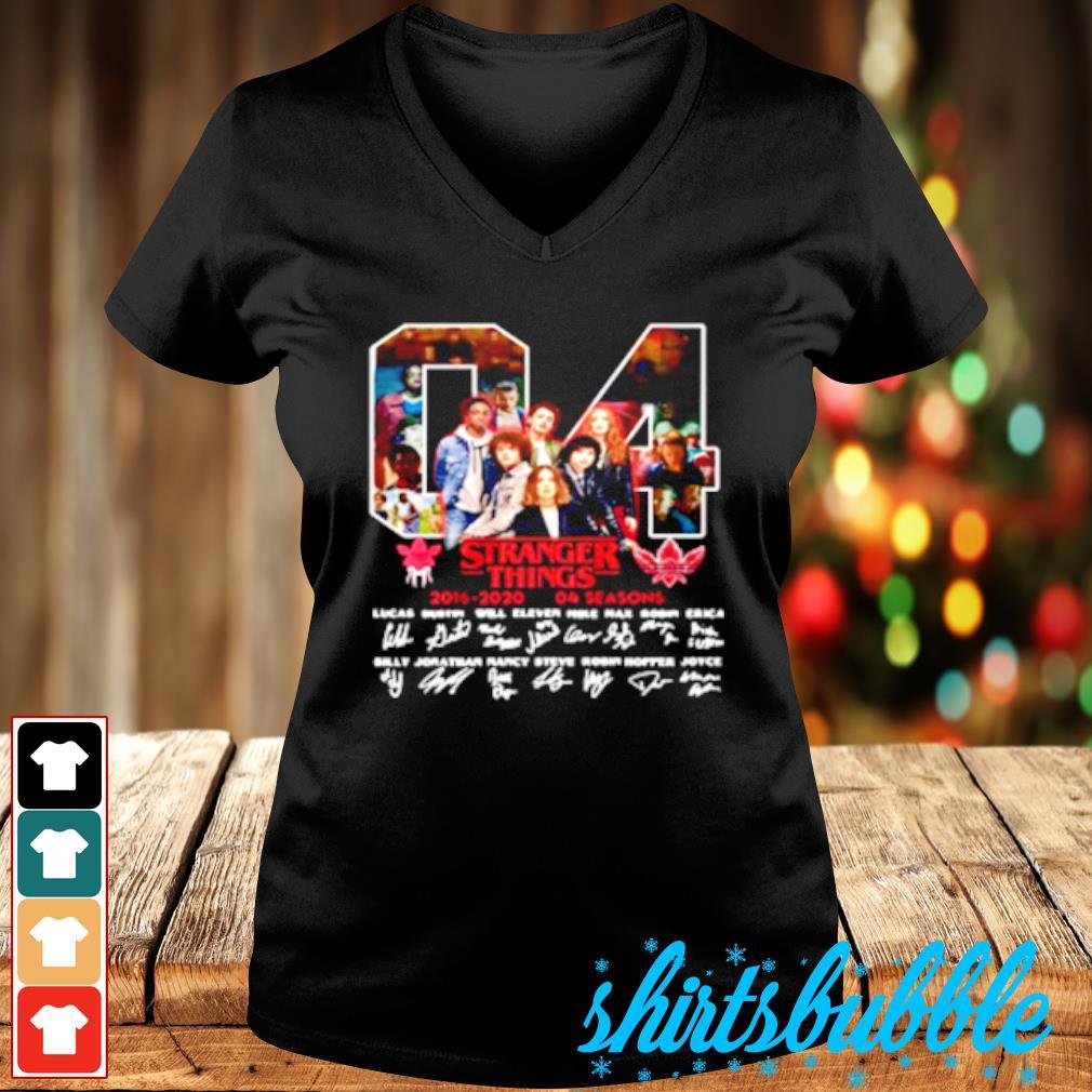 04 Stranger Things 2016 2020 04 Seasons Signatures Shirt V-neck t-shirt