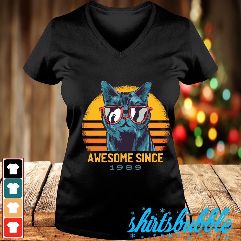 Cat awesome since 1989 vintage s V-neck t-shirt