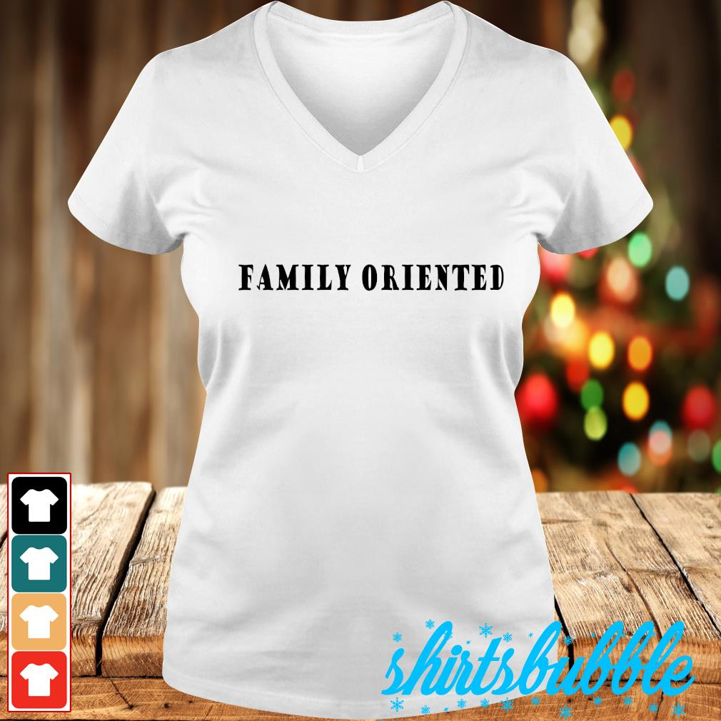 Family oriented s V-neck t-shirt