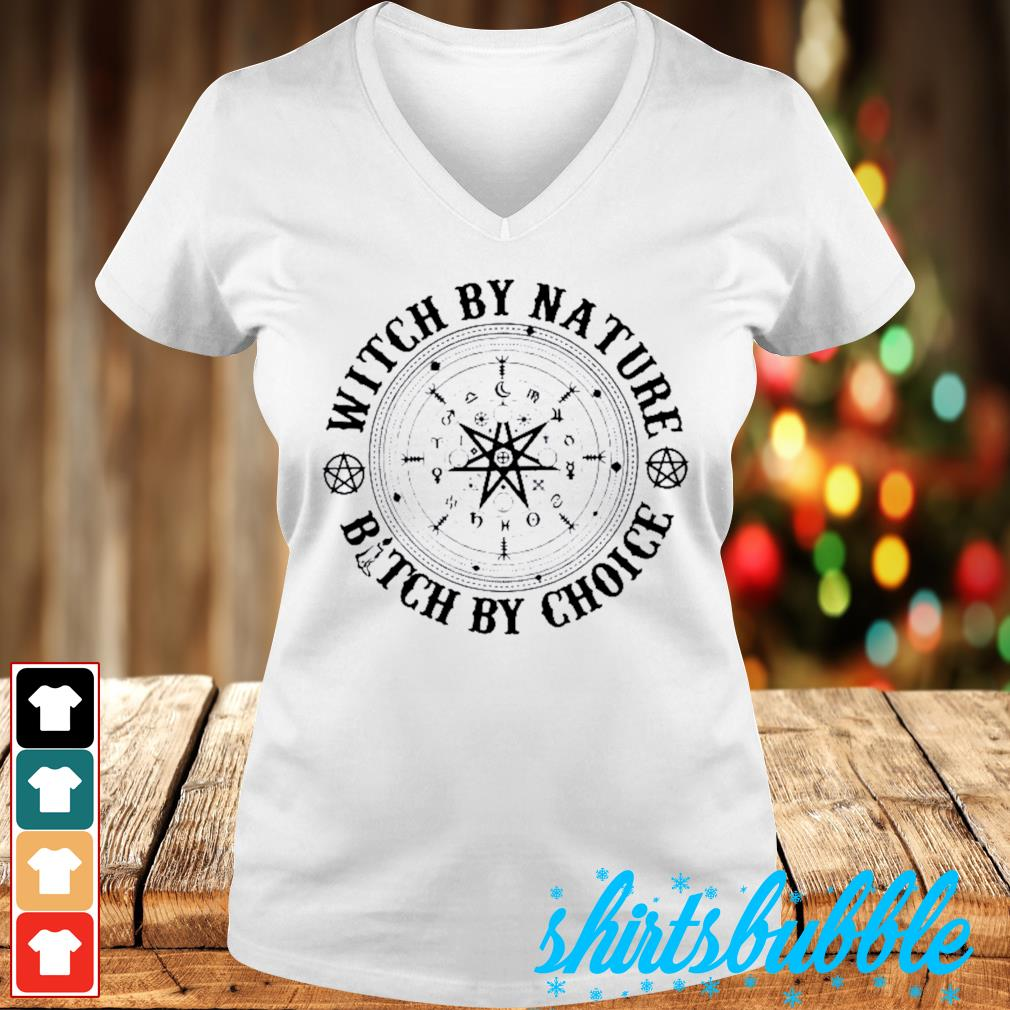 Halloween Witch by nature bitch by choice s V-neck t-shirt