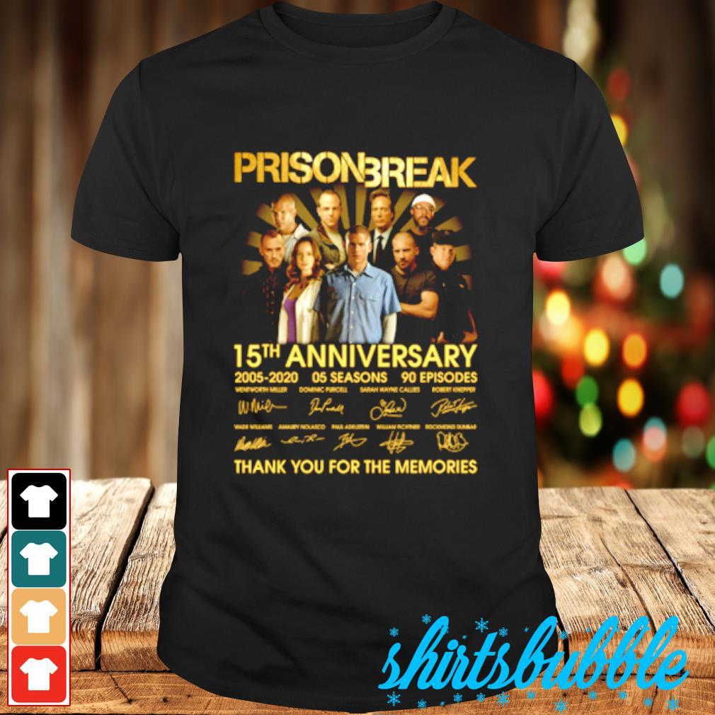 Prison Break 15th anniversary 2005 2020 signature thank you for memories shirt