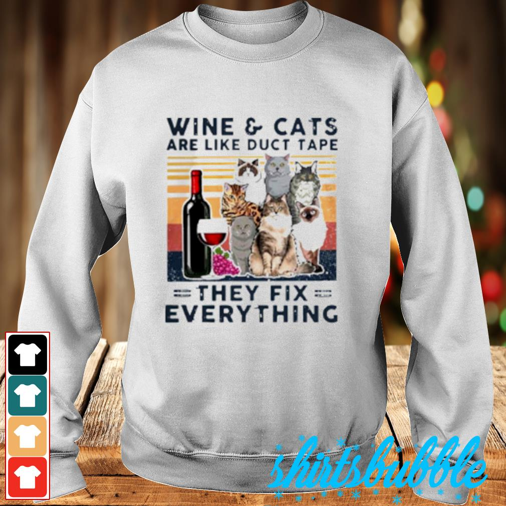 Wine Cats are like duct tape they fix everything vintage s Sweater