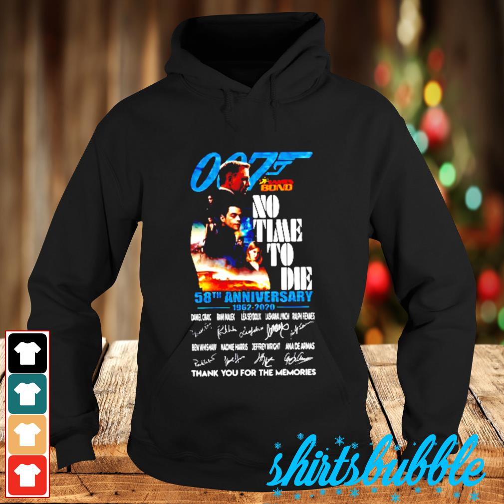 007 James Bond no time to die 58th anniversary 1962 2020 thank you For the memories signatures s Hoodie