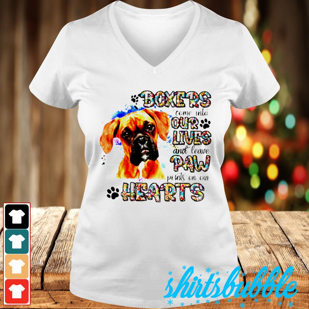 Boxers come into our lives and leave paw prints on our hearts s V-neck t-shirt