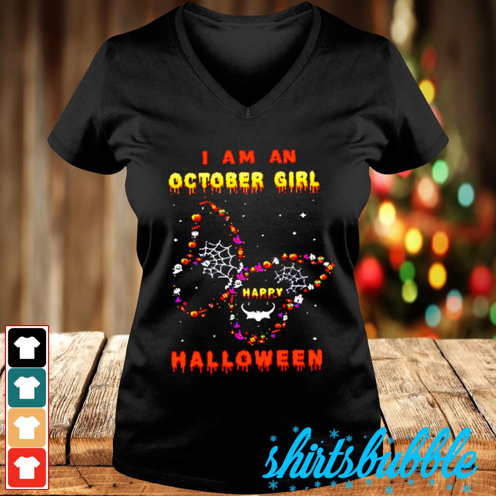 I Am A October Girl Happy Butterfly Halloween s V-neck t-shirt
