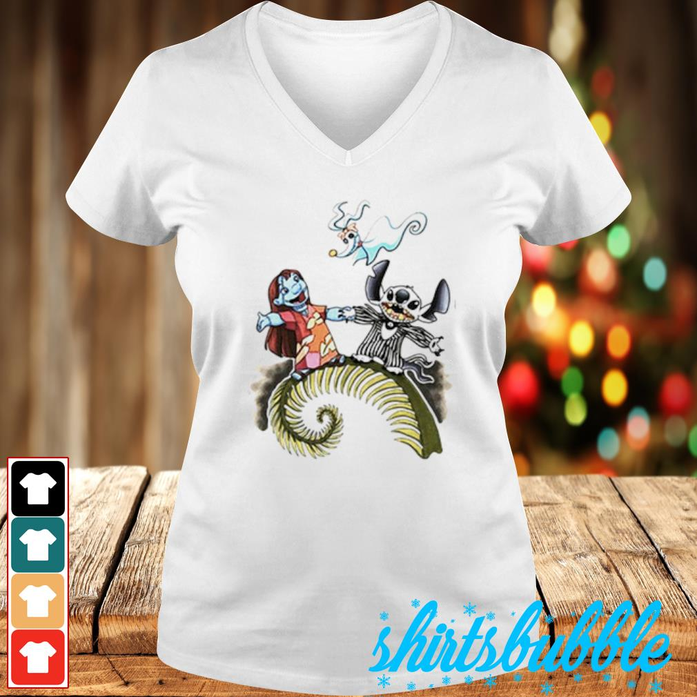 Lilo and Stitch as Jack and Sally Zero s V-neck t-shirt