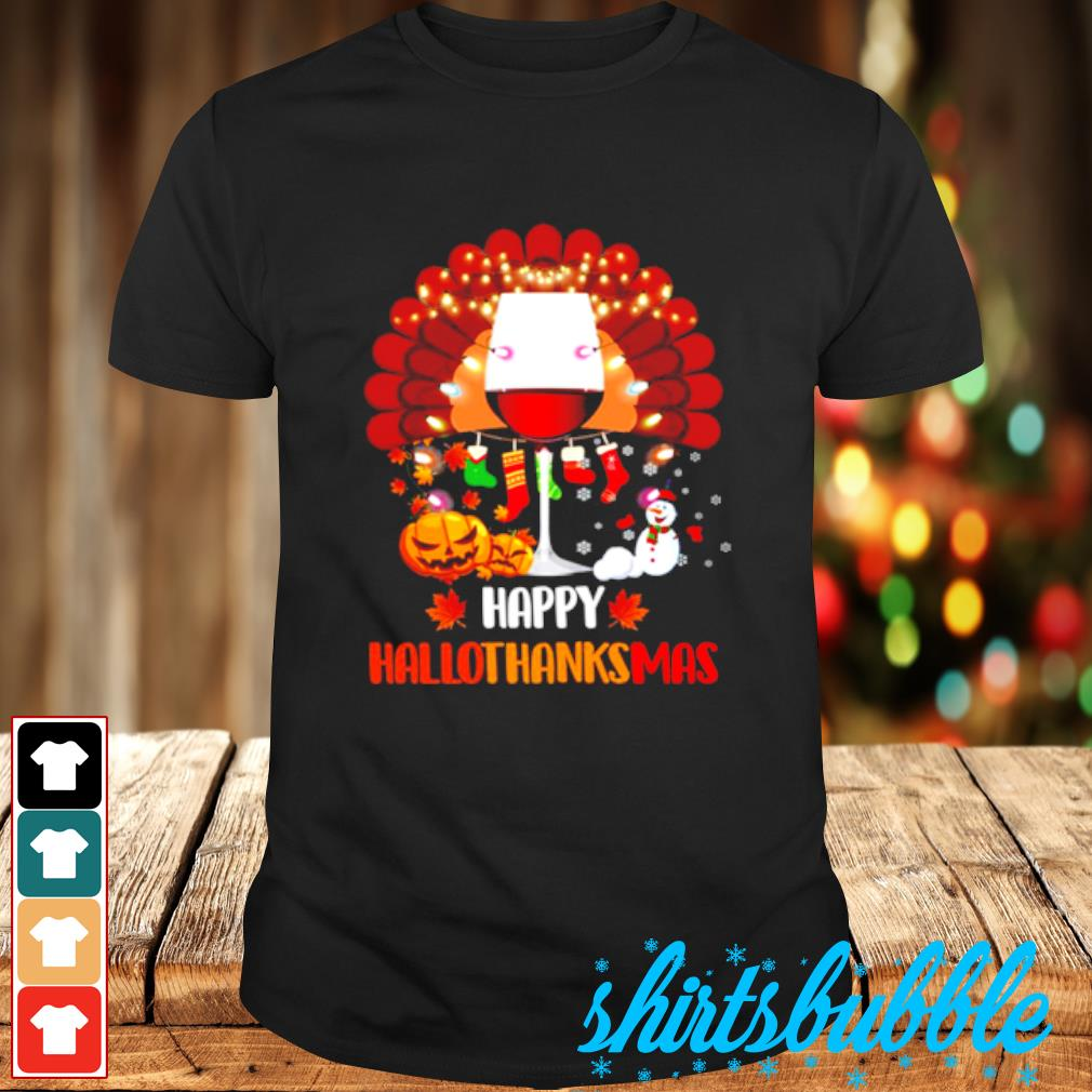 Wine Turkey Happy Hallothanksmas shirt