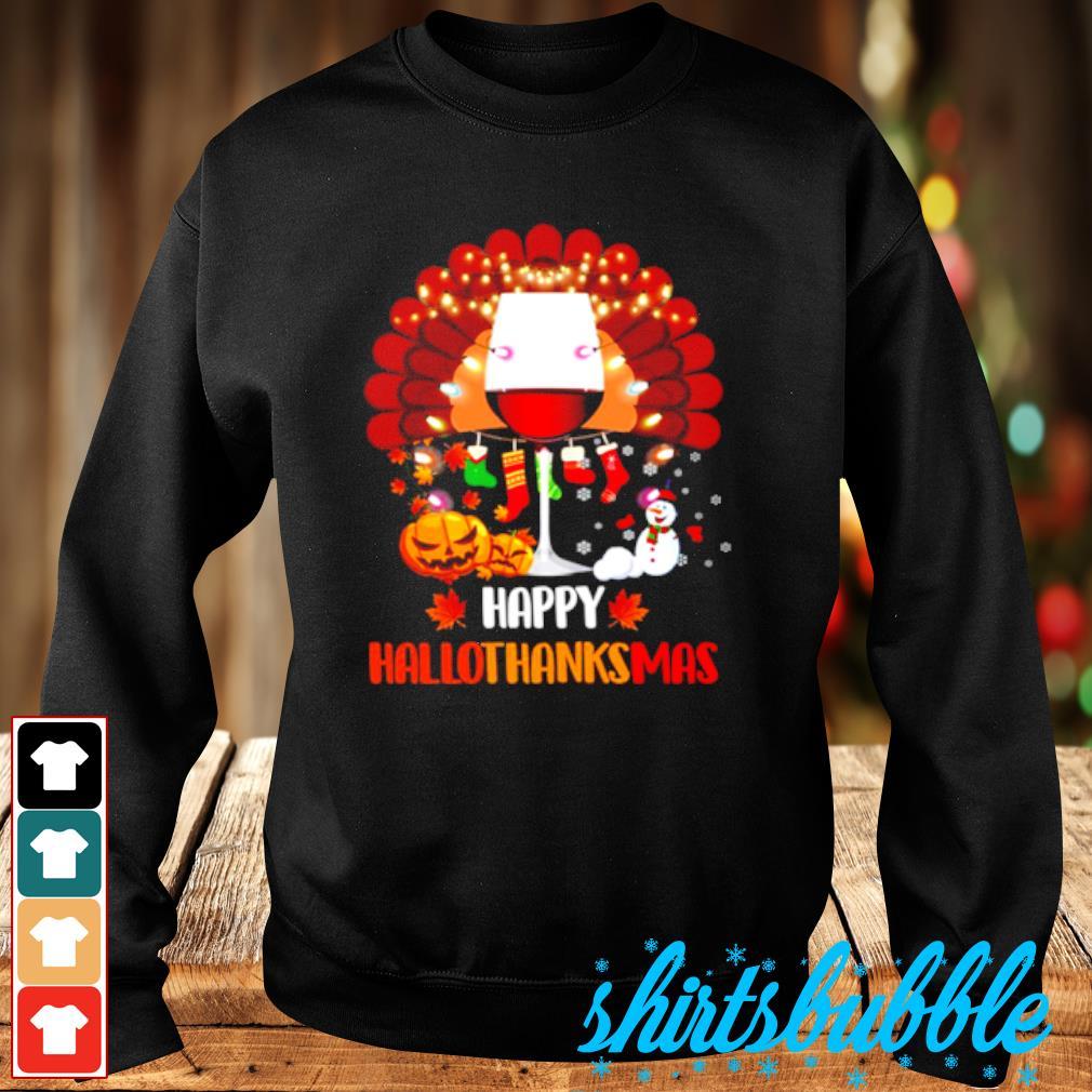 Wine Turkey Happy Hallothanksmas s Sweater