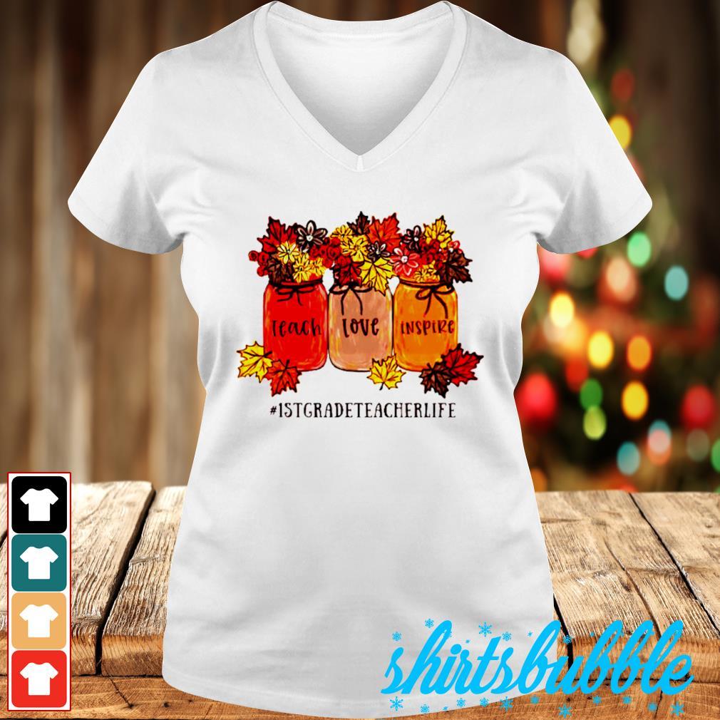 #1stgradeteacherlife teach love inspire s V-neck t-shirt