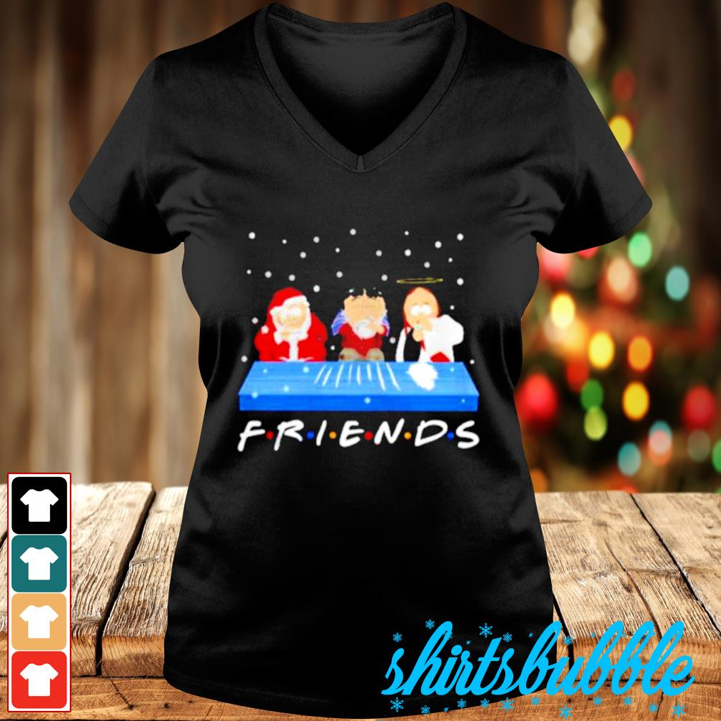 Jesus Randy and Santa Christmas snow Marijuana friends s V-neck t-shirt