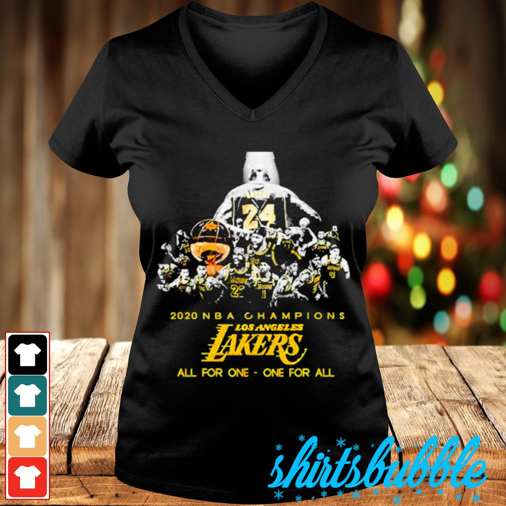 Kobe Bryant 2020 NBA Champions Los Angeles Lakers all for one one for sll s V-neck t-shirt