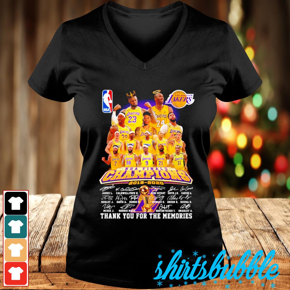 Los Angeles Lakers NBA finals Champions 2019 2020 thank you for the memories s V-neck t-shirt