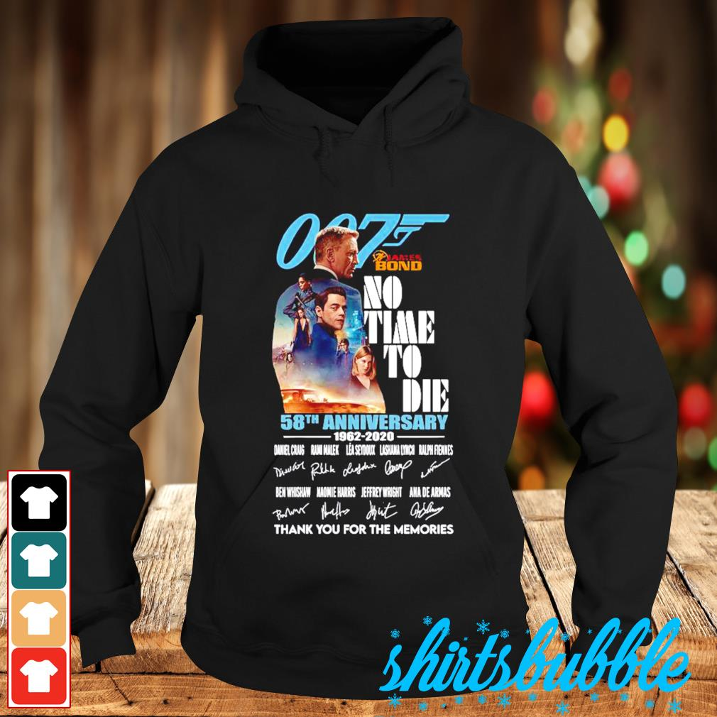 007 James Bond no time to die 58th Anniversary 1962-2020 thank you for the memories s Hoodie