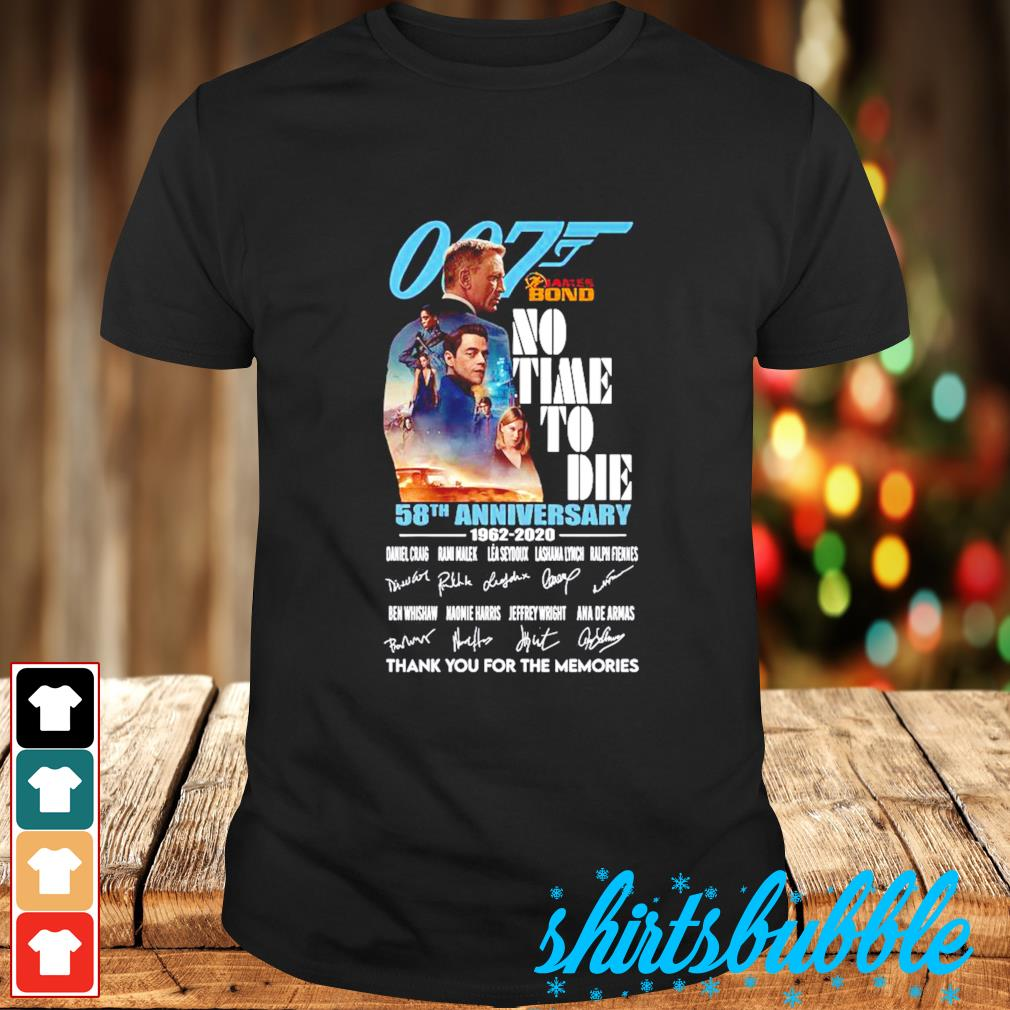 007 James Bond no time to die 58th Anniversary 1962-2020 thank you for the memories shirt
