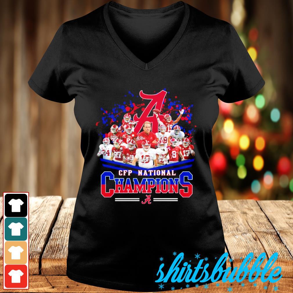 Alabama Crimson Tide CFP National Champions signatures s V-neck t-shirt