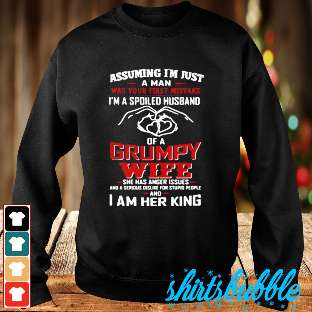 Assuming I/'m Just A Man Was Your First Mistake I/'m A Spoiled Husband Of A Grumpy Wife She Was Born In July T-Shirt Husband Shirt