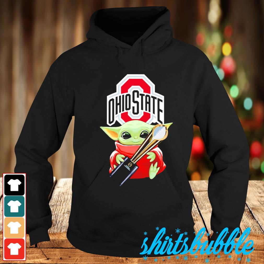 Baby Yoda hugs Ohio State Champion cup s Hoodie