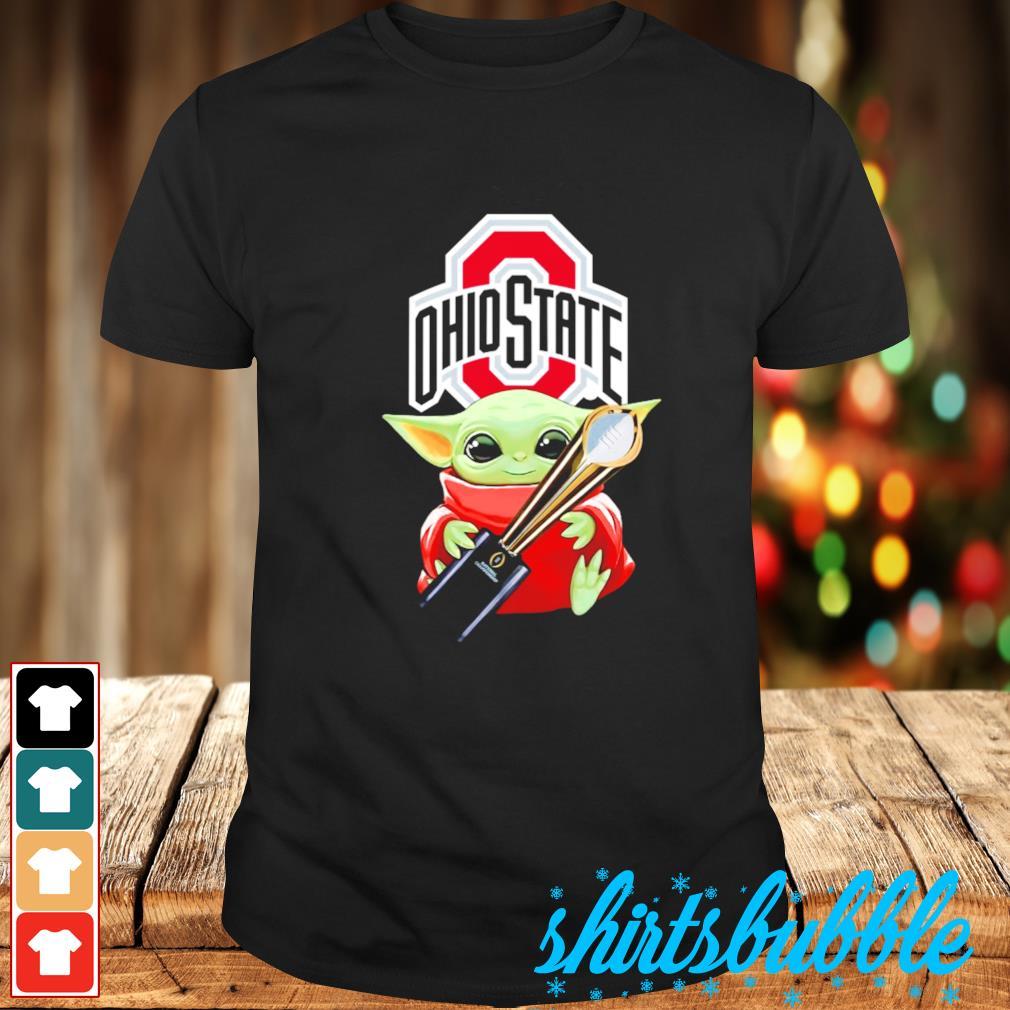 Baby Yoda hugs Ohio State Champion cup shirt