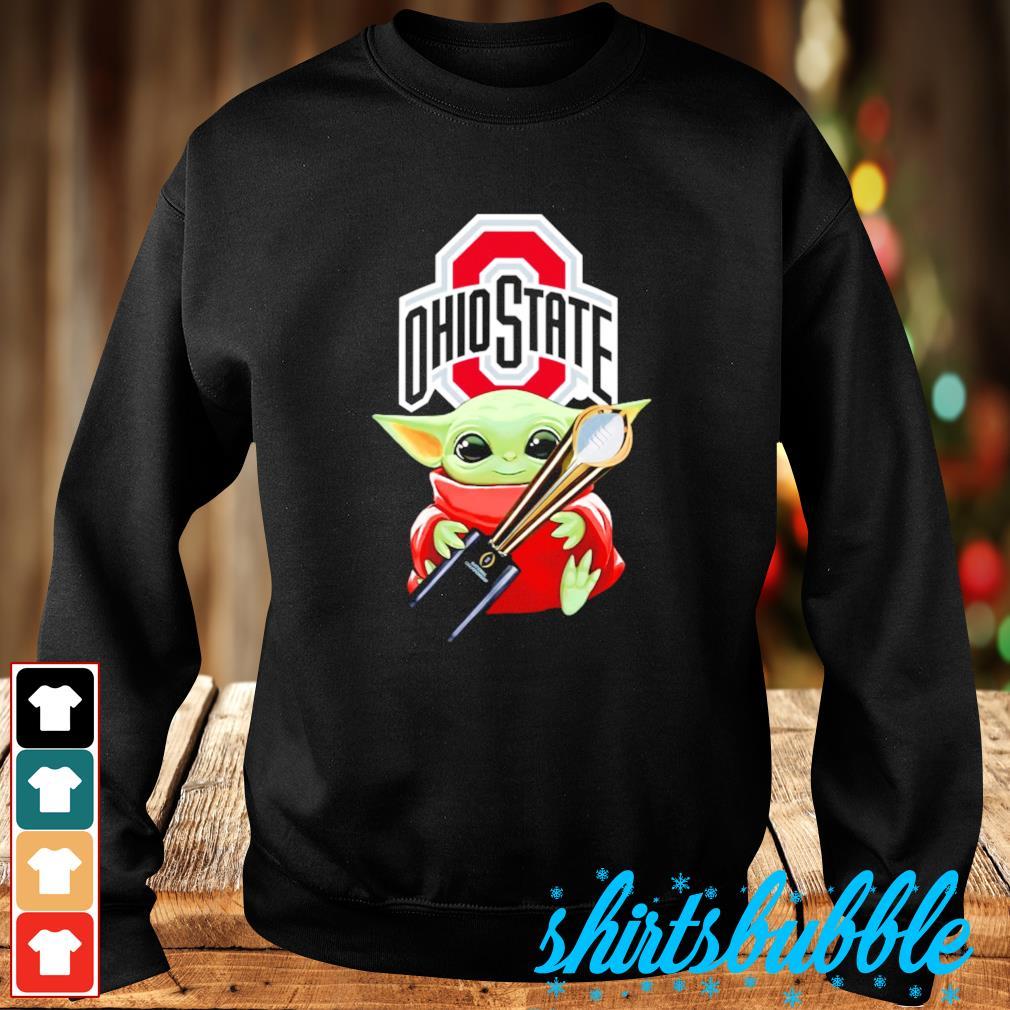Baby Yoda hugs Ohio State Champion cup s Sweater