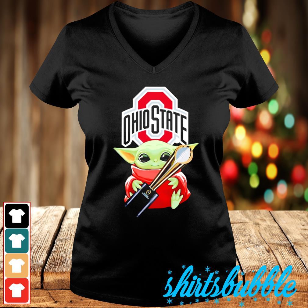 Baby Yoda hugs Ohio State Champion cup s V-neck t-shirt