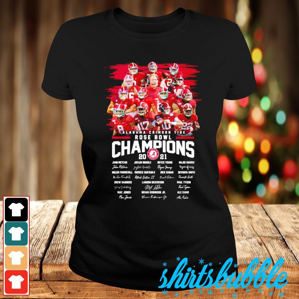 Best seller Alabama Crimson Tide Rose Bowl Champions 2021 signatures s Ladies-tee