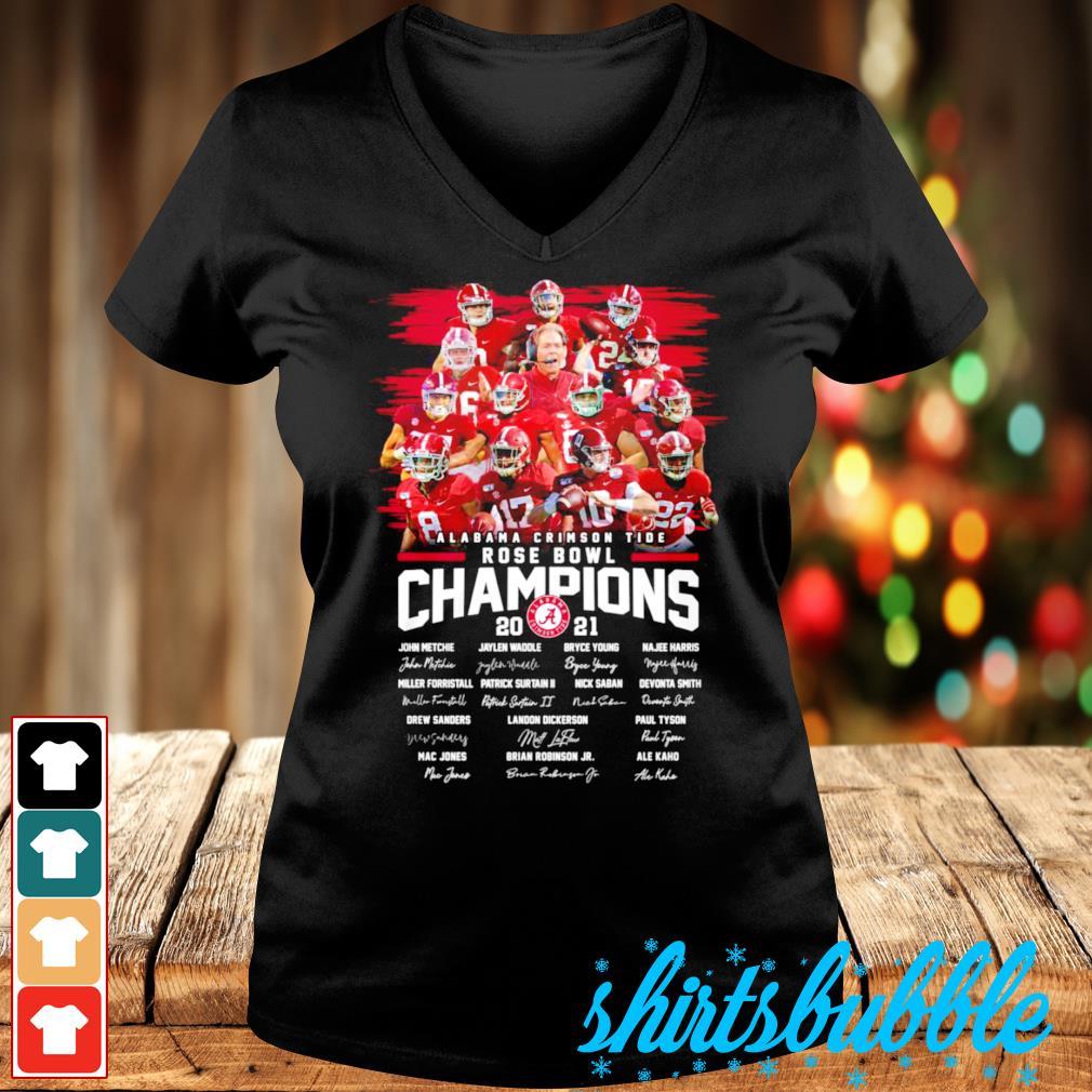 Best seller Alabama Crimson Tide Rose Bowl Champions 2021 signatures s V-neck t-shirt