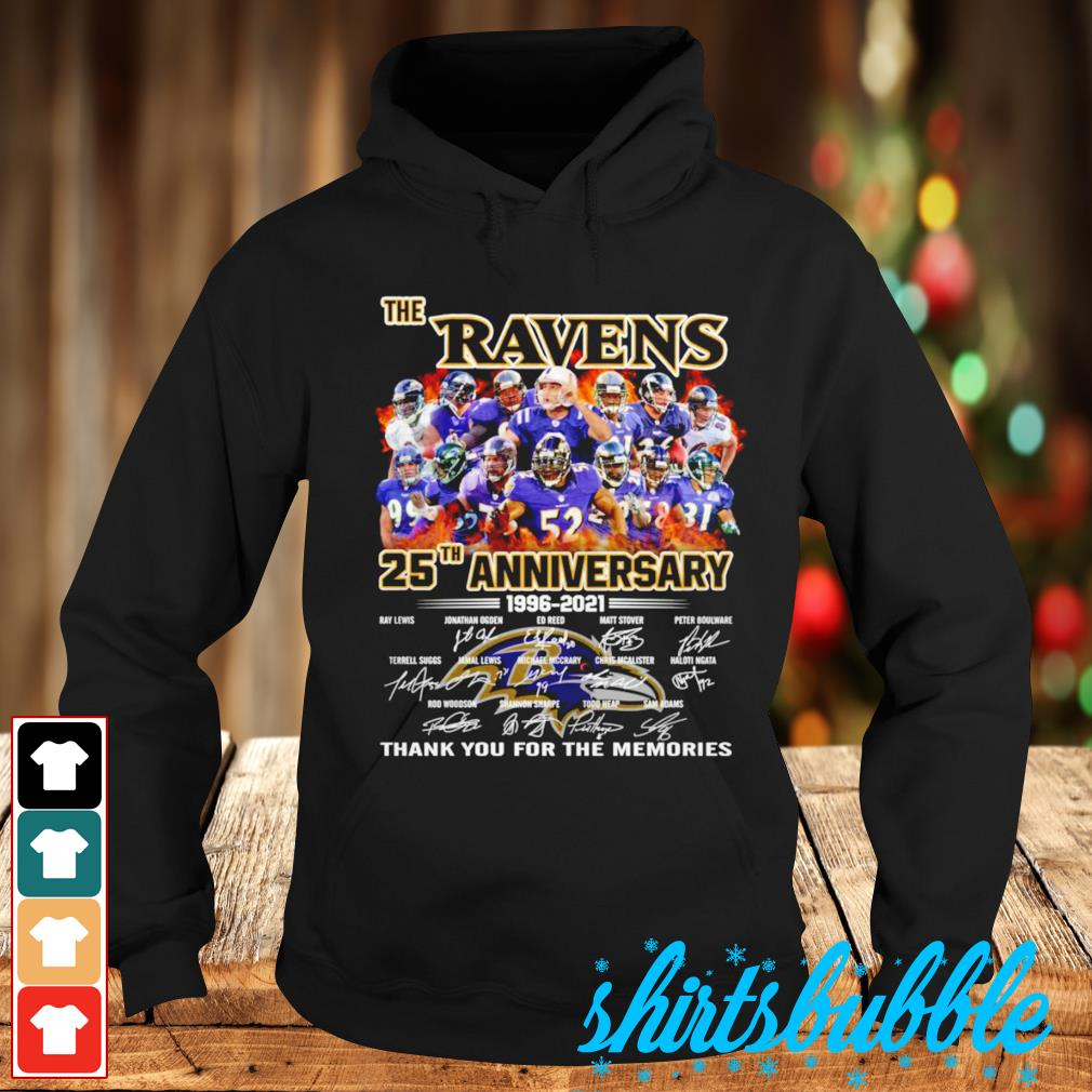 The Baltimore Ravens 25th anniversary thank you for the memories signatures s Hoodie