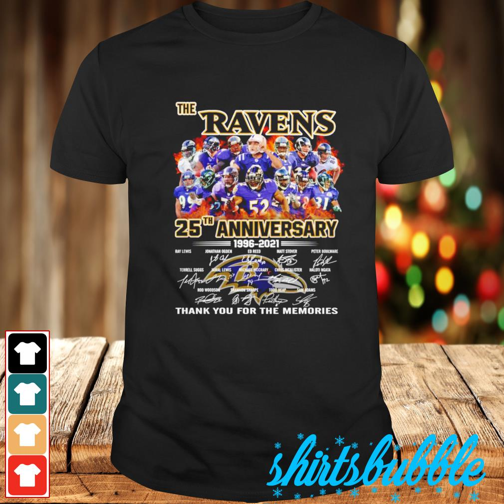 The Baltimore Ravens 25th anniversary thank you for the memories signatures shirt