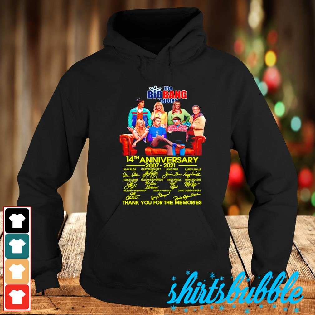 The Big Bang Theory 14th anniversary 2007 2021 thank you for the memories signature s Hoodie
