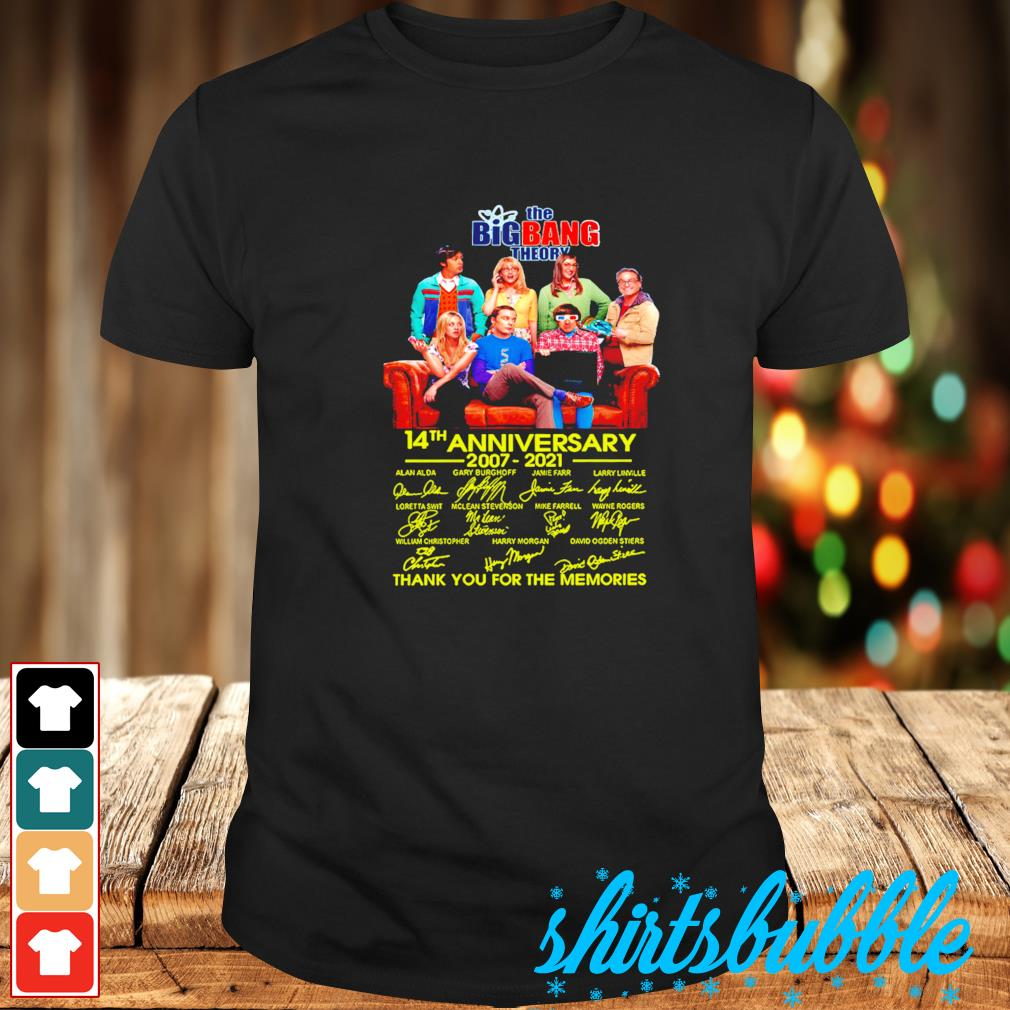 The Big Bang Theory 14th anniversary 2007 2021 thank you for the memories signature shirt